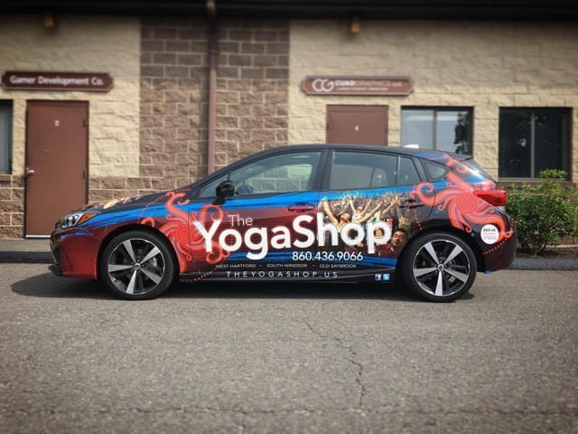 Yoga Shop vehicle wrap courtesy of Cuadgraphics