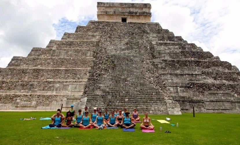 Yoga in front of ruins in Tulum
